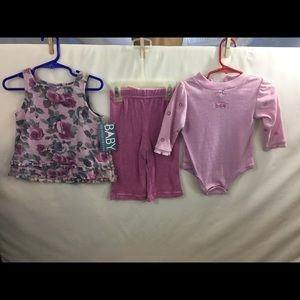 Baby Headquarters 3pcs Girls Outfit Sz 6-9 mo NWT